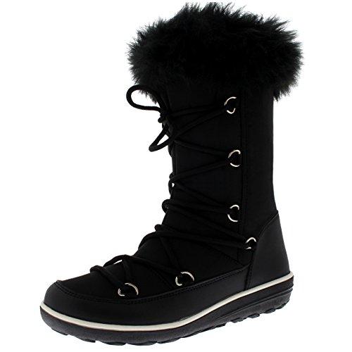 Thermal Snow - Polar Products Womens Rain Thermal Warm Snow Winter Knee High Waterproof Boots - Black Nylon - US9/EU40 - YC0477