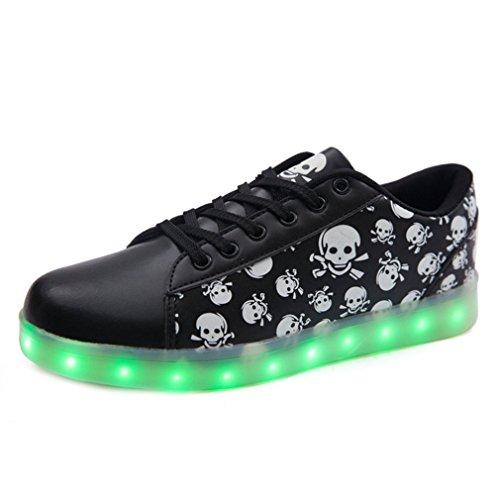 (Present:kleines Handtuch)JUNGLEST Schwarz 7 Farbe Unisex LED-Beleuchtung Blink USB-Lade Turnschuh-Schuh Schwarz