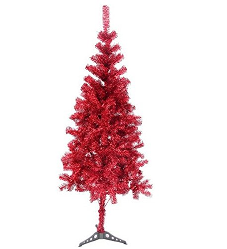 6' Ft Sparking Gorgeous Folding Artificial Tinsel Christmas Tree Red Color 450 Tips-Unlit]()