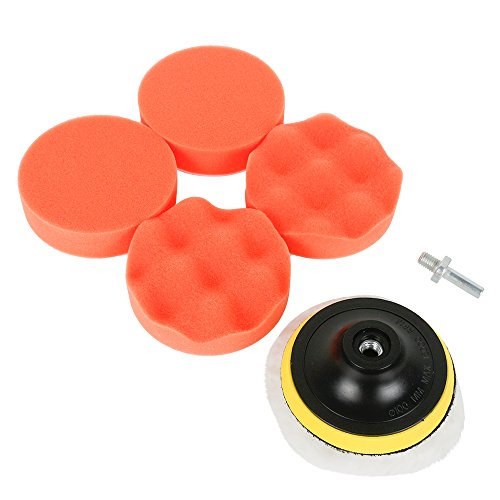 Lyonice Polishing Waxing Pads Kits with M10 Drill Adapter Kit for Car Body Care Sponge Wool Waxing Buffing Pads Kit 4 Inch 7PCS