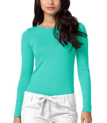 (ADAR UNIFORMS Adar Womens Comfort Long Sleeve T-Shirt Underscrub Tee - 2900 - Sea Glass - S)