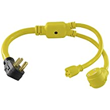 Conntek RV Y Adapter with 50-Amp Male Plug to RV 30-Amp and 15/20-Amp Female Connector, 3-Feet