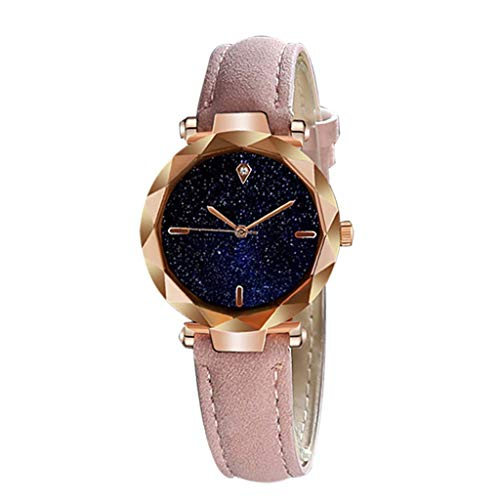 Roumin Simple and Stylish Luxury Starry Dial Convex Mirror Leather Strap(Pink)