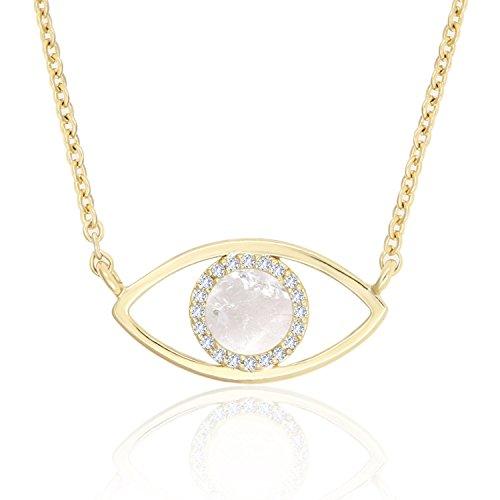 - KISSPAT 14K Gold Natural Clear Quartz Evil Eye Necklace Pendant Jewelry for Women