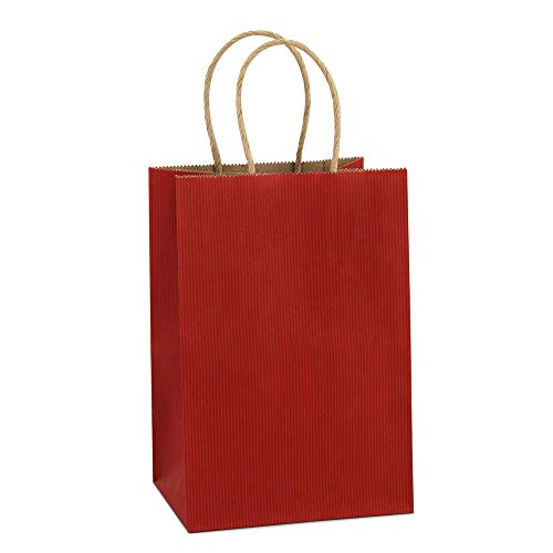 Red Gift Bags (BagDream Kraft Paper Bags 25Pcs 5.25x3.75x8 Inches Small Paper Gift Bags with Handles Shopping Bags, Kraft Bags, Red Stripes Party)