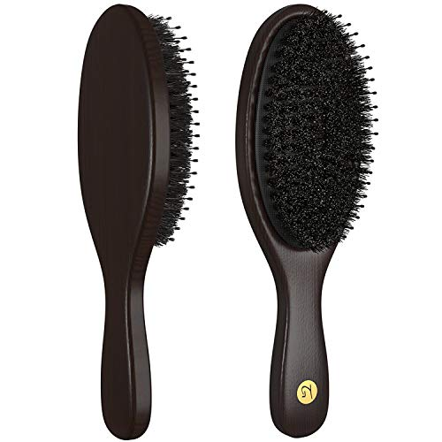 Boar Bristle Hair Brush for Men & Women – Hairbrush with Added Detangling Pins for Optimally Getting Natural Oils Throughout All Hairs & Stimulating Scalp – Boar Hairbrushes Recommended by Stylists Review