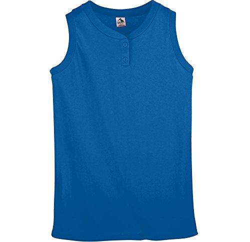 Augusta Sportswear WOMEN'S SLEEVELESS TWO-BUTTON SOFTBALL JERSEY M Royal