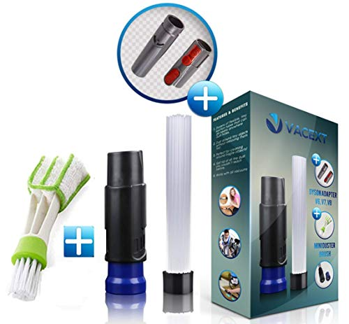 VACEXT Vacuum Attachments with Universal Adapter Dusty Brush with Suction Tiny Tubes Flexible Access to Anywhere, Master Duster Cleaning Tool for Vents/Keyboard/Car/Craft/Jewelry/Bookcase