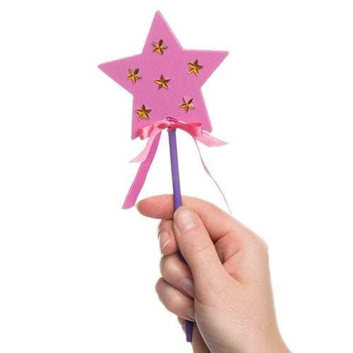 Pack of 6 Baker Ross Decorate Your Own Wooden Star Magic Wands for Kids to Personalise