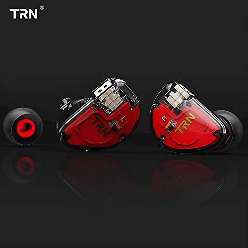 TRN V30 HiFi Earphone, Stage/Studio in Ear Monitor, Single Dynamic & 2 Balanced Armature Driver Stereo Bass IEM, Metal in Ear Headphone with Detachable 2 Pin Cable (Transparent Black No Mic)