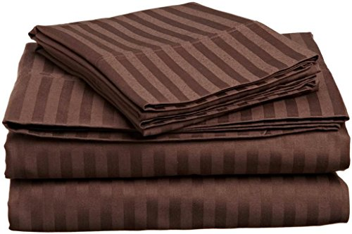 True Linen 100% Cotton 600 TC 6 Piece Premium Sheet Set (1 Fitted Sheet, 1 Flat Sheet and 4 Pillowcases) Fit Up to 18-Inch-Deep Pocket (King, Chocolate Stripe) - Flat Sheet Stripe Chocolate