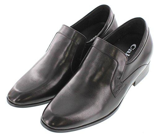 calto-g6176-7,1cm Grande Taille-Hauteur Augmenter Chaussures ascenseur (en cuir noir à enfiler léger)
