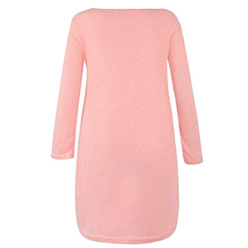 Manica Lunga Vestito Solido L Cerniera Rosa Grigio Pullover Donne Casuale Sciolto Lato Maglione Autunno Colore cqpzIX