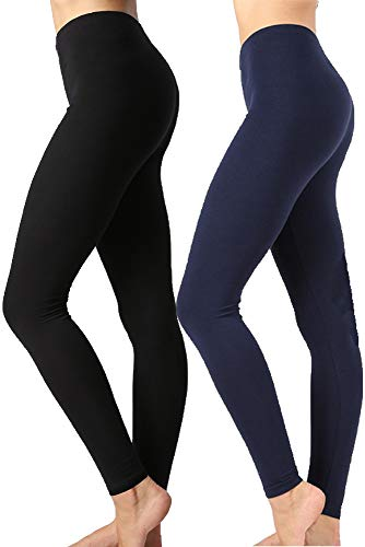 Leggings Cotton - Zenana Outfitters JKC USA Selected Premium Cotton Full Length Solid Color Leggings OP-1851 - Black/Navy - Medium
