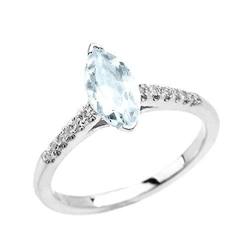 Aquamarine Marquise - Dainty 10k White Gold Diamond and Marquise Aquamarine Solitaire Engagement Proposal Ring (Size 7)