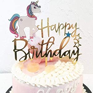 Matt Time Unicorn Happy Birthday Cake Topper Glitter for Kids Boys Girls Party Decorations Gold Acrylic