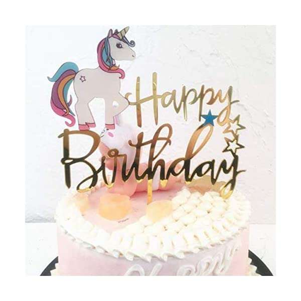 Matt Time Unicorn Happy Birthday Cake Topper Glitter for Kids Boys Girls Party Decorations Gold Acrylic 4
