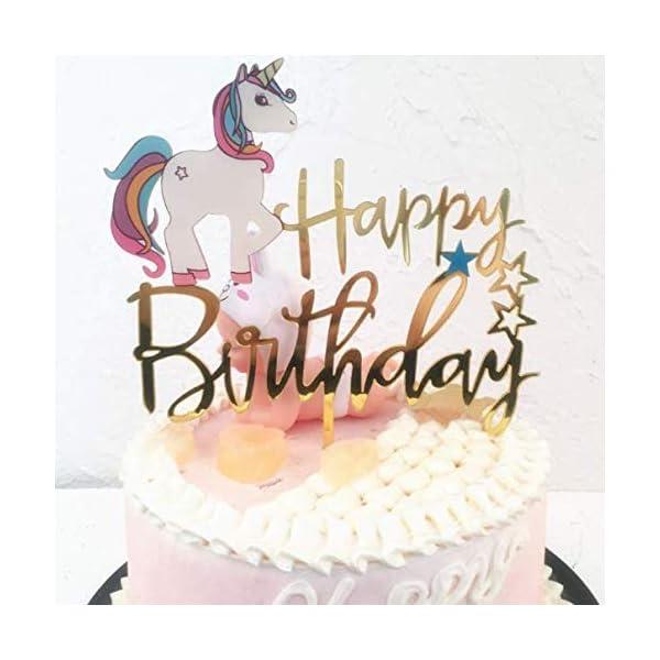 Matt Time Unicorn Happy Birthday Cake Topper Glitter for Kids Boys Girls Party Decorations Gold Acrylic 4