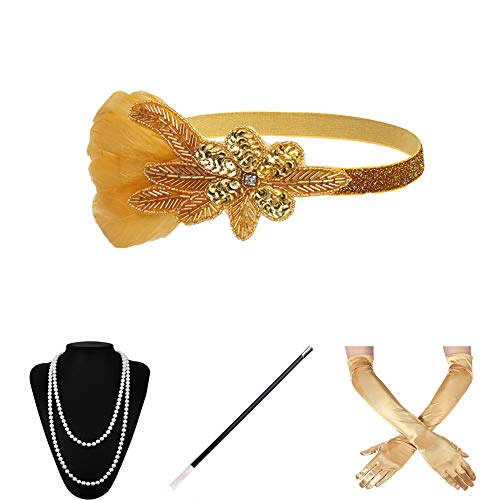 Xuhan 1920s Accessories Set for Women Headband Necklace Gloves Cigarette Holder (set-51) ()