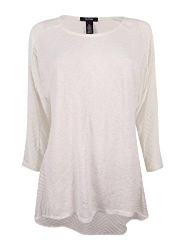 Alfani Womens Sheer Mixed Media Pullover Top White XL from Alfani