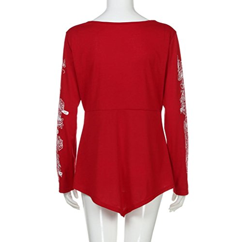 Blouse Summer Sleeve Top Long Joint Plus Xxxl T Active Flowers Size Casual shirt Lady Womens red qFO81t8
