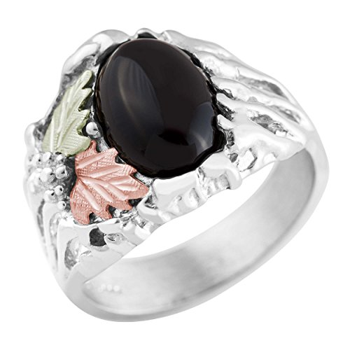 Black Hills Gold on Silver Mens Onyx Ring