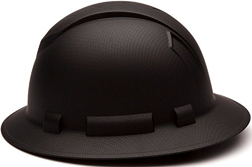 Full Brim Hard Hat, Adjustable Ratchet 4 Pt Suspension, Durable Protection safety helmet, Graphite Pattern Design, Black Matte, by Tuff America by Tuff America (Image #1)