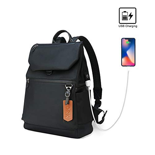 Waterproof Backpack Anti Theft College Lightweight School Bookbag Black Daypack for Men Women, Laptop Rucksack with USB Charging Port by Petfu