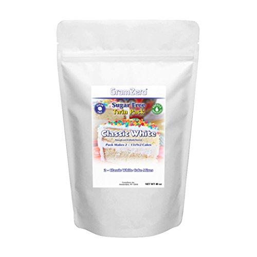 (GramZero, 2 Pack White Cake Mix, Makes 2 - 13x9x2 Cakes, Stevia Sweetened, SUGAR)