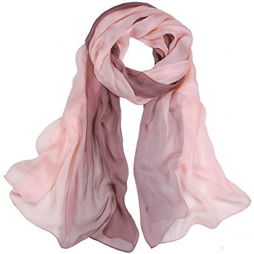 LEIDAI Frauen Seidenschal Elegante Leichte Lange Verlaufsfarben 100% Seidenschal Anti Allergie Tuch Sonnenschutz (6#, 175 cm * 62 cm)