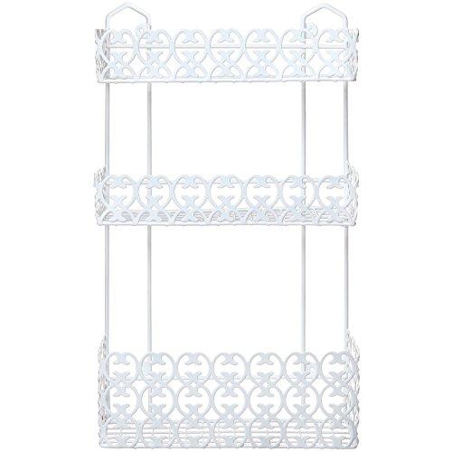 mygift decorative white wall mounted 3 tier shelf baskets