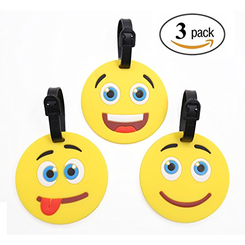 Emoji Luggage Tags Silicone Backpack Tags for Kids Men Women with Adjustable Strap, 3 Pack