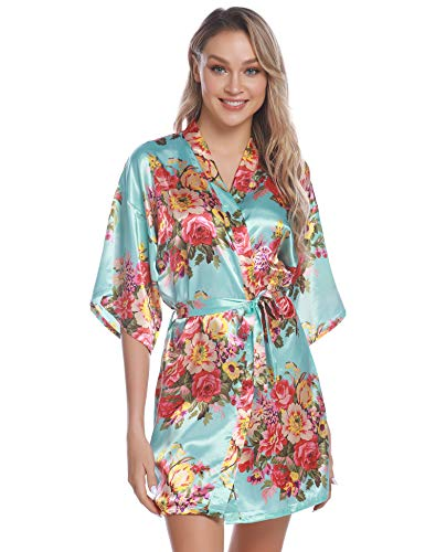 Aiboria Women's Floral Satin Kimono Robes Short Sleeve Bridesmaid Bride Robes Bathrobe Blue