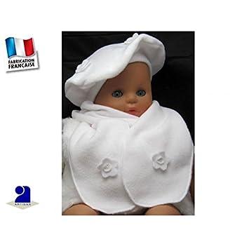 Poussin bleu - Béret-écharpe blanc polaire à fleurs, fille 3 mois au ... 69259a7e555