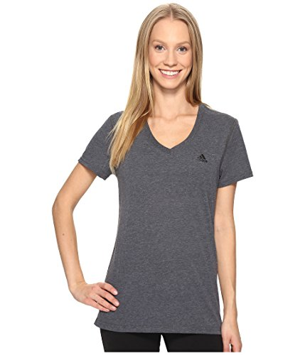 adidas Womens Training Ultimate Short Sleeve V-Neck Tee, Dark Grey Heather/Black, Medium