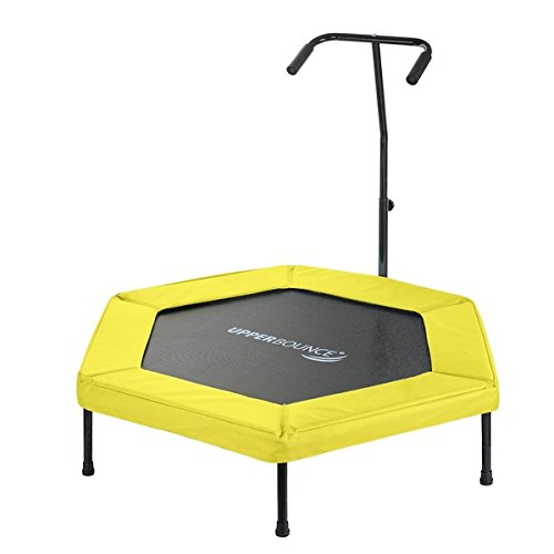 Upper Bounce Yellow 50-inch Hexagonal Fitness Mini-trampoline with T-shaped Adjustable Hand Rail by Upper Bounce