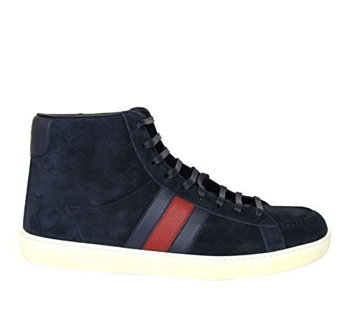 Gucci Web (Gucci Men's Navy Suede Brb Leather Web Detail High-top Sneakers 337221 (10.5 US / 10 G, Navy))