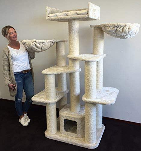 Rascador para gatos grandes Maine Coon Fantasy Beige baratos arbol xxl gato adultos con hamaca gigante sisal muebles escalador torre Árboles rascadores cama cueva repuesto medianos: Amazon.es: Productos para mascotas