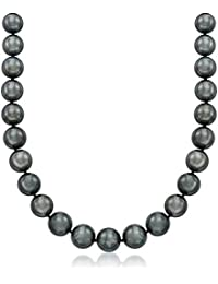 Certified 10-12mm Black Cultured Tahitian Pearl Necklace With 14kt White Gold