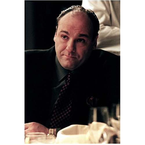 Diamond Patterned Tie (The Sopranos (TV Series 1999 - 2007) 8 inch by 10 inch PHOTOGRAPH James Gandolfini Seated at Table Black Suit Diamond Patterned Tie)