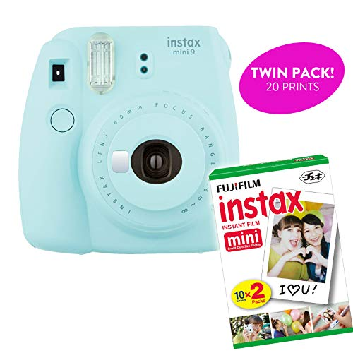 Fujifilm Instax Mini 9 Instant Print Camera (Renewed) Plus Twin Pack Film Starter Bundle | 10 Sheets x 2 = 20 White Frame Instant Exposure Photograph Sheets (Ice Blue)