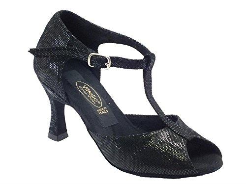 Chaussures De Danse Latine Dans Un Talon De Satin Noir Noir 70n Femmes