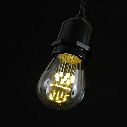 37.5 Foot S14 LED Edison Outdoor String Lights - Commercial Grade String Lights - Backyard Garden Gazebo – Cafe Market Light Set – Vintage Patio String Lights - Brown Wire - 25 S14 LED Bulbs