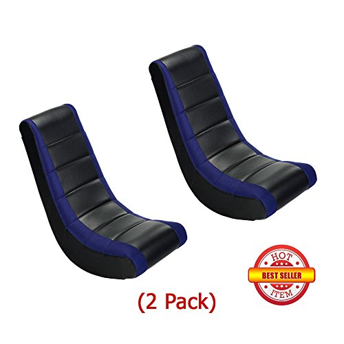 418fGXE643L - (2 Pack) Video Game Rocker Sanford Mesh Racing Stripe Blue For Kids,Teens,Adults Boys Or Girls Seat Vinyl For Games,Tv Room 17W x 15.5D x 39H in.