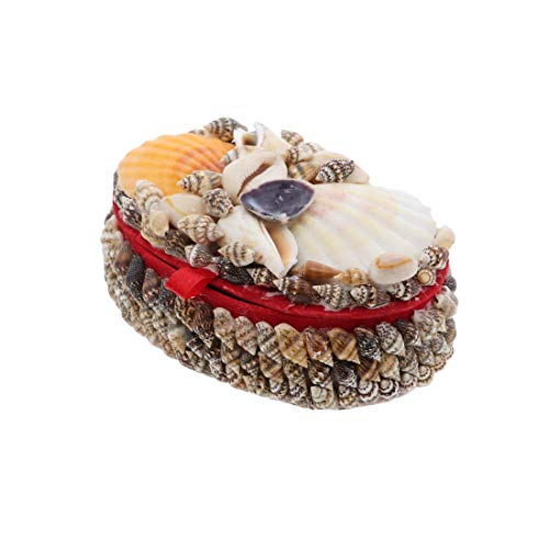 Li'Shay Natural Seashell Covered Jewelry Trinket Box Treasure Box - 4 Inch - Oval