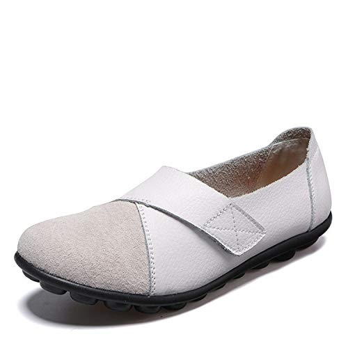 Luck Man Spring Autumn Shoes Woman Leather Women Flats Slip On Women's Loafers Female Sewing Shoe Large Size White (Yahoo Word)