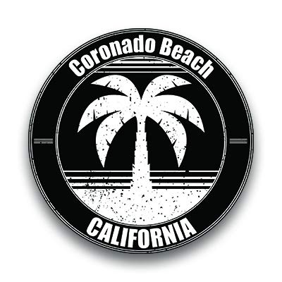 Coronado Beach Vinyl Decal Sticker Vacation Explore Memory Souvenir Waterproof 2 Pack 3 Inch Round Premium Quality Vinyl UV Protective Laminate PD1800