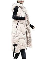 Briskorry Donsvest met capuchon, oversized mouwloos vest met capuchon, licht wintervest, lang winddicht, bovenstuk, slank vest, jas, overgangsjas