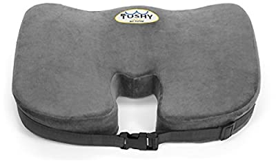Dr. Tushy Coccyx Memory Foam Seat Cushion - Adjustable Straps to Secure to Wheelchairs,Office Chairs,Car Seats for Relief from Sciatica, Lower Back & Tailbone Pain (Gray) (Bonus Incl)
