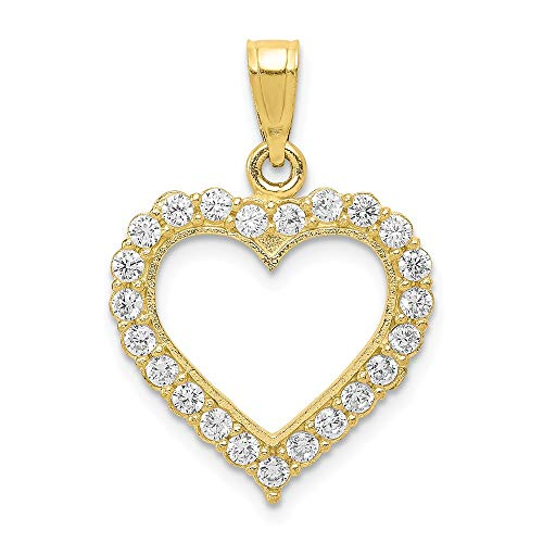 10k Yellow Gold Cubic Zirconia Cz Heart Pendant Charm Necklace Love Fine Jewelry Gifts For Women For Her